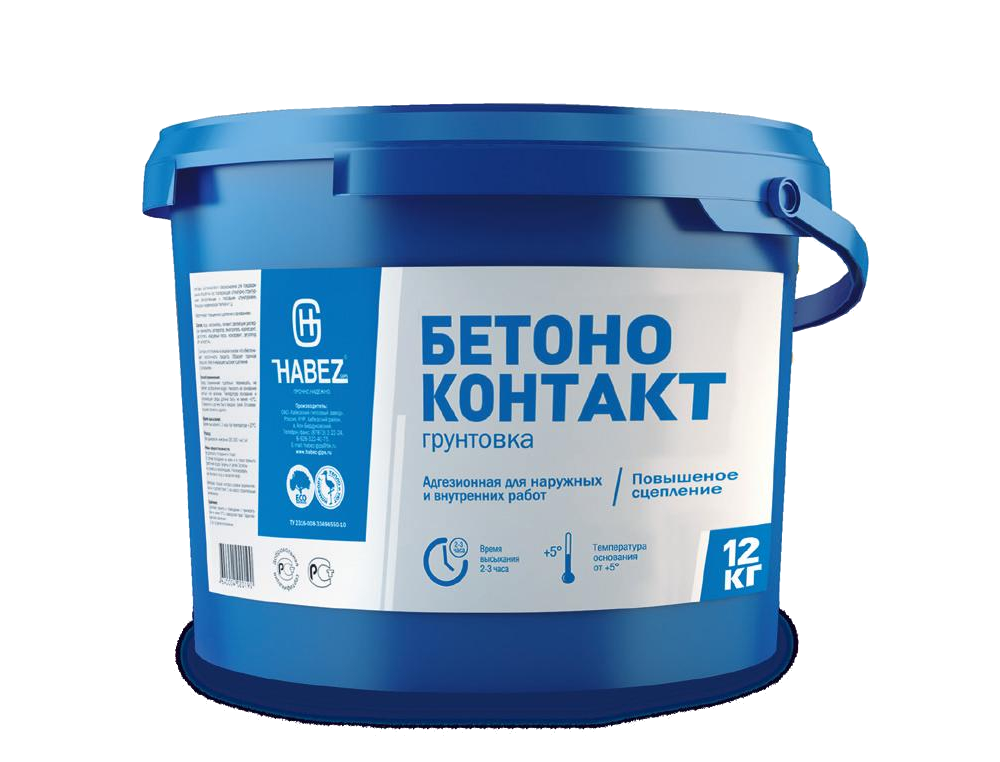 Грунтовка адгезионная Habez Бетоноконтакт для внутренних и наружных работ 12 кг